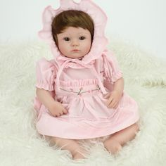 59.96$  Buy here - http://aliggh.worldwells.pw/go.php?t=32641499144 - New 16 inch silicone reborn dolls with pink dress lifelike girl baby alive boneca children toys gift