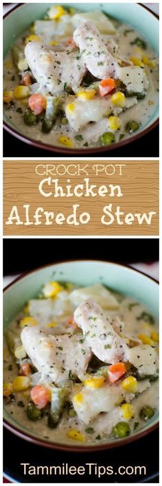 The best comfort food you can make in the slow cooker! Crock Pot Chicken Alfredo Stew Recipe is perfect for family dinners. Add in your favorite pasta to make this stew even more hearty.
