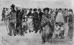 La Haye 1882 People Walking on the Beach (Otterlo museum)