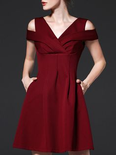 Shop Mini Dresses - Burgundy V Neck Simple A-line Mini Dress online. Discover…