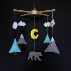 Mountain  Mobile - Baby Boy Mobile - Mint Grey Nursery - Felt Crib Mobile - Baby Mobile Hanging - Wooden Mobile - Cot Mobile - Modern Mobile by BimbaUA on Etsy https://www.etsy.com/listing/545839707/mountain-mobile-baby-boy-mobile-mint