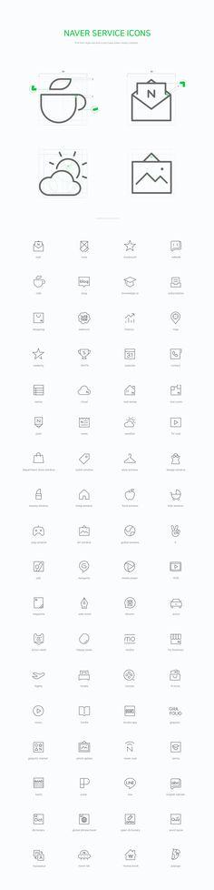 Naver line icon set on Behance   라인 두께, 그리드, 통일성, 참고
