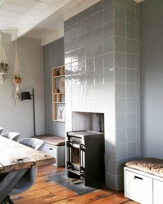 Style At Home, Wood Stove Wall, Garden Living, Wood Burner, Interior Inspiration, Sweet Home, New Homes, House Design, Living Room