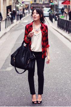 Red-plaid-shirt-bel-air-shirt-black-bag-givenchy-bag