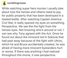 This is why I love Marvel. Though I don't agree with Tony on the Accords, I still can see it from his point of view. Marvel has got their character development down pat.