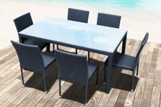 RÉSINE TRESSÉE TABLE + 6 CHAISES EMPILABLES NOIR EMMA