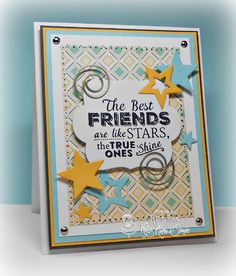 Jessie Knightrone: Can You Say…Addicted to Stamps? –  Wonderful Wednesday-Friends - 2/18/15  (Krafting Kimmie stamp: Hello, Friend.  MFT: Star STAX.  The Cat's Pajamas: Star CutUps.)