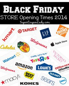 BLACK FRIDAY Opening Times for Walmart, Best Buy, Kmart, Toys R Us, Macy's and more! http://www.supercouponlady.com/black-friday-store-opening-times-2014/