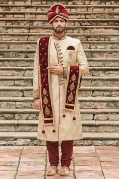 Traditional Indian jodhpuri sherwani collection online for wedding, sangeet and festive occasions. choose from latest designer shervani designs to buy sherwani online. Sherwani For Men Wedding, Wedding Dresses Men Indian, Bridal Mehndi Dresses, Wedding Outfits For Groom, Groom Wedding Dress, Party Wear Indian Dresses, Sherwani Groom, Indian Bridal Outfits, Mens Sherwani