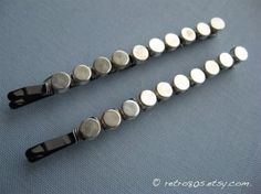 Silver Dots - Beaded Bobby Pins (Large-Size) on Etsy