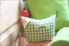 pillow - easy to make! I'm not a big fan of chickens but this one with the green gingham is converting me!