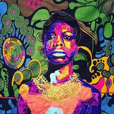 Nina Simone by Bisa Butler Nina Simone, African Quilts, African Fabric, Fantasia Barrino, African American Art, African Women, African Art, Pierrot, Creative Textiles