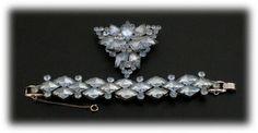 DeLizza & Elster aquamarine diamond shaped set $249 http://www.vintagecostumejewelryaddiction.com/vcja1789.html