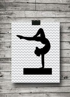 Chevron Stripe Gymnastic Gymnast Silhouette by ATimeAndPlaceDesign, $5.00