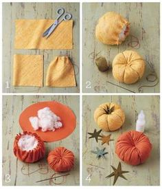 Great primitive pumpkin pincushion tutorial. doesn't even have to be a…