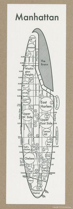 Letterpress Manhattan Map - Minimalist Print- Neighborhood - Modern - Simple - Grid. So helpful. I need this.