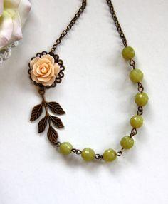 A Soft Light Apricot Peach Flower Cabochon, Brass Leaf, Olive Jade Gemstone Necklace.  Summer Inspired. Bridesmaid Gift. Peach Wedding