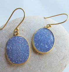 These make a great everyday earring featuring a sparkly Blue Druzy which add a nice pop of color to your wardrobe. Made by Belesas with Love!