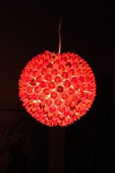 Hanging paper orb lamp origami handmade modern lighting futuristic mod sphere. $300.00, via Etsy.
