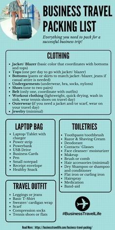 Travel Packing List - Business Travel Life Business Travel Tips: Everything you need to pack for your next business trip.Business Travel Tips: Everything you need to pack for your next business trip. Business Travel Outfits, Business Trip Packing, Packing List For Travel, Travel Trip, Travel Destinations, Passport Travel, Traveling Tips, Travel Hacks, Travel Advice