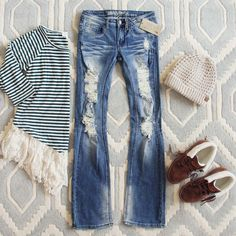 love the style of jeans but maybe not quite so many tears... (I don't like the top) The Edmonds Flare Jean...