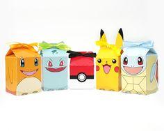 Pokémon - Caixa Milk - Pikachu, Charmander, Bulbasaur, Squirtle e Pokébola - Festa - Lembrancinha
