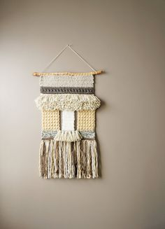 Bohemian Wall Hanging / Modern Tapestry / Woven Boho Fringe Tapestry Weaving / Crochet / Neutral Cream / Rustic Textile / Modern Home Décor