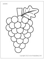 Free printable grape coloring page and colored grape page to use for fruit-themed crafts and activities. Free Coloring, Coloring Pages For Kids, Coloring Books, Templates Printable Free, Printables, Tree Templates, Preschool Crafts, Crafts For Kids, Joshua And Caleb