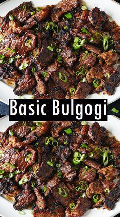 cooking tips - Basic Bulgogi Recipe Dessert & Cake Recipes Korean Beef Recipes, Spicy Recipes, Cooking Recipes, Asian Food Recipes, Dinner Recipes, Asian Beef, Korean Bbq Beef, Korean Beef Bowl, Korean Food