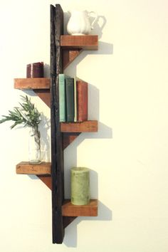 recycled wood decorative shelf