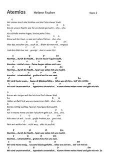 Atemlos - Helene Fischer, Akkorde, Lyrics, Tutorial