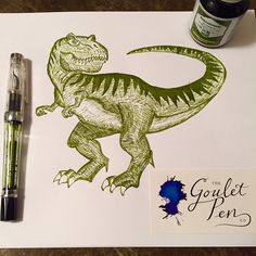 "@gouletpens ""Sexy T-Rexy"" This week's entry for the #mondaymatchupgiveaway is a T-Rex drawn with my TWSBI Vac 700 inked up with Rohrer & Klingner Alt Goldgrun. The drawing was a gift to my dinosaur obsessed nephew Thomas. #TWSBI #vac700 #rohrerandklingner #altgoldgrun #fountainpens #fountainpenink #dinosaur #trex"