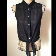 Sheer top Super cute sheer black button down shirt with tie at bottom Tops Button Down Shirts