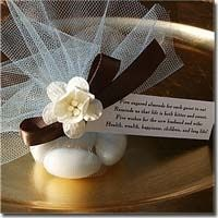 """Bomboniere,  """"Classic Italian Wedding Favor""""    A traditional treat of five white almonds symbolizing five wishes for the Bride and Groom. includes tag with traditional wedding wish:    """"Five sugared almonds for each guest to eat  Reminds us that life is both bitter and sweet.  Five wishes for the new husband and wife:  Health, wealth, happiness, children, and long life!"""""""