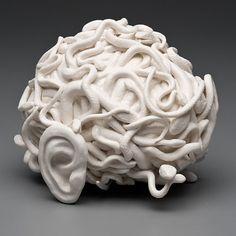 """Kate MacDowell creates stunning works out of porcelain. She said,"""" I hand sculpt each piece out of porcelain, often building a solid form a. Kate Macdowell, Murs Roses, Illustration Manga, Art Sculpture, Anatomy Sculpture, Fractal Design, Fractal Art, Anatomy Art, Human Anatomy"""