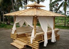 Gazebo is pergola type structure, which can be erected in your lawn. But there is little bit difference in pergola and gazebo as pergola is simple structure… Bamboo Bamboo, Bamboo Fence, Bamboo Ideas, Cozy Backyard, Backyard Gazebo, Diy Pergola, Bamboo House Design, Bamboo Building, Bamboo Structure