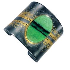 Atelier Zobel 22 & 24-karat Yellow Gold and Sterling Silver cuff with Jade and black Diamonds.