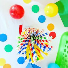 Items similar to Let's Have a Ball Birthday Party Decorations*Primary Colors Birthday*Colorful Birthday Party*Circle Garland*Rainbow Birthday Decorationns on Etsy Ball Theme Birthday, Baseball First Birthday, Colorful Birthday Party, First Birthday Party Decorations, Tractor Birthday, Ball Birthday Parties, My Son Birthday, Primary Color Party, Primary Colors