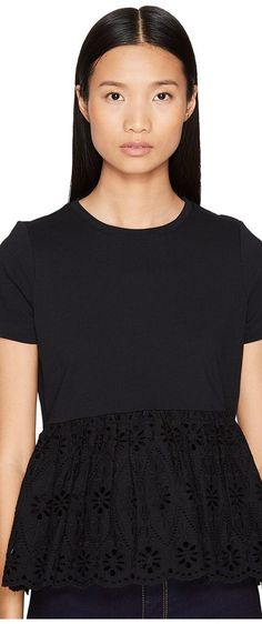 Kate Spade New York Broome Street Eyelet Flounce Tee (Black) Women's T Shirt - Kate Spade New York, Broome Street Eyelet Flounce Tee, NJMU7412-001, Apparel Top Shirt, T Shirt, Top, Apparel, Clothes Clothing, Gift - Outfit Ideas And Street Style 2017