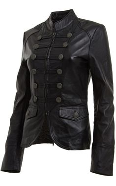 Womens Black Leather Blazer Jacket with Military Style front buttons