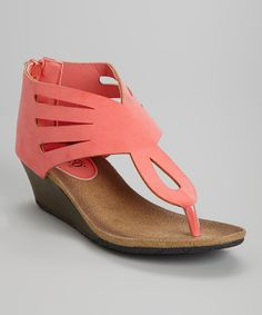 Coral Cutout Hipsta Wedge Sandal | Daily deals for moms, babies and kids