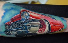Rock'n'Roll Tattoo's A. Pancho shows off some classic flair with a sweet candy-apple red Mustang tattoo. Car Tattoos, Body Art Tattoos, Mustang Tattoo, Hot Rod Tattoo, Red Mustang, Great Tattoos, Inspiring Tattoos, Amazing Tattoos, Different Tattoos