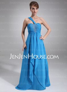 Prom Dresses - $146.99 - Empire One-Shoulder Floor-Length Chiffon Prom Dress With Ruffle Beading (018016848) http://jenjenhouse.com/Empire-One-Shoulder-Floor-Length-Chiffon-Prom-Dress-With-Ruffle-Beading-018016848-g16848