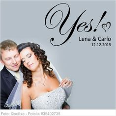 Wandtattoo Hochzeit Yes mit Vornamen und Datum 05