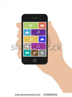Flat woman hand holds smart phone with icons on white background