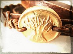 Tree of Life Hand Carved Leather Wrap Bracelet Boho by HDRustica