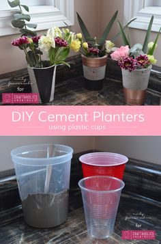 DIY Cement Planters using Plastic Cups || The plastic cups make this messy project manageable and easy to clean up!