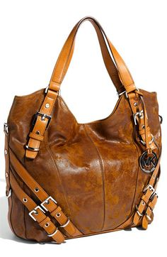 "Michael Kors 'Milo"" Tote.  gorgeous distressed leather with multi buckle details"