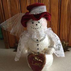Paper mâché Valentine Snowgirl
