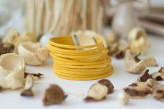 Suede Bracelet Leather Bracelet Yellow Mustard by FunnyMoonBijoux